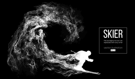 Abstract silhouette of a skier on dark, black background from particles, dust, smoke, steam. Skier carving and performs a trick. Background can be changed to any other. Vector illustration
