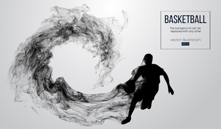 Abstract silhouette of a basketball player on white background from particles, dust, smoke, steam. Basketball player is running. Background can be changed to any other. Vector