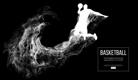 Abstract silhouette of a basketball player on dark black background from particles, dust, smoke, steam. Basketball player jumping and performs slam dunk. Background can be changed to any other. Vector