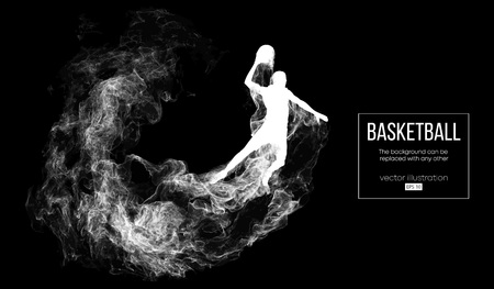 Abstract silhouette of a basketball player on dark black background from particles, dust, smoke, steam. Basketball player jumping and performs slam dunk. Background can be changed to any other. Vector Stock Vector - 118850747