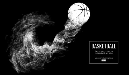 Abstract silhouette of a basketball ball on dark black background from particles, dust, smoke, steam. Basketball player, ball is flying. Background can be changed to any other. Vector illustartion Illustration