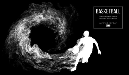 Abstract silhouette of a basketball player on dark black background from particles, dust, smoke, steam. Basketball player is running. Background can be changed to any other. Vector Illustration