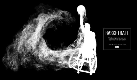 Abstract silhouette of a basketball player disabled on dark black background from particles, dust, smoke, steam. Basketball player performs throw a ball. Background can be changed to any other. Vector 矢量图像