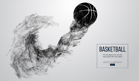Abstract silhouette of a basketball ball on white background from particles, dust, smoke, steam. Basketball player, ball is flying. Background can be changed to any other. Vector illustartion