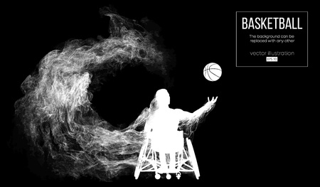 Abstract silhouette of a basketball player disabled on dark black background from particles, dust, smoke, steam. Basketball player performs throw a ball. Background can be changed to any other. Vector Çizim