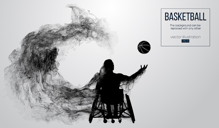 Abstract silhouette of a basketball player disabled on white background from particles, dust, smoke, steam. Basketball player performs throw a ball. Background can be changed to any other. Vector