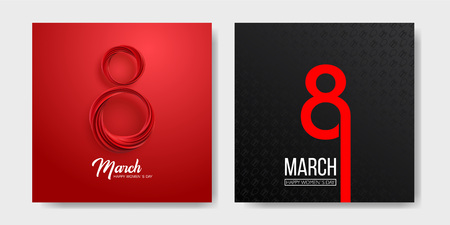 Banner for the International Womens Day. Sale banner, discount card. March 8 on the dark, black and red background. Vector illustration