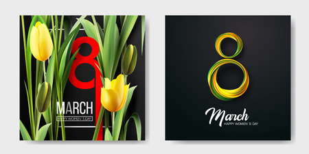 Banner for the International Womens Day. Sale banner, discount card. Yellow tulips and yellow, green March 8 on the dark, black background. Vector illustration