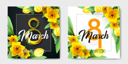 Banner for the International Womens Day. Sale banner, discount card. Yellow tulips and yellow, green March 8 on the dark, black and white background. Vector illustration