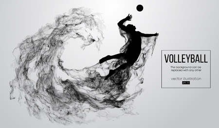 Abstract silhouette of a volleyball player man on white background from particles. Volleyball player is jumping and kicks the ball. Background can be changed to any other. Vector illustration