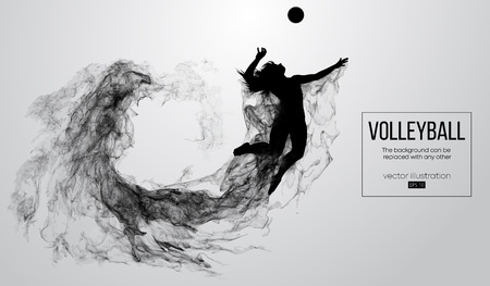 Abstract silhouette of a volleyball player woman on white background from particles. Volleyball player is jumping and kicks the ball. Background can be changed to any other. Vector illustration