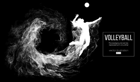 Abstract silhouette of a volleyball player woman on dark, black background from particles. Volleyball player is jumping and kicks the ball. Background can be changed to any other. Vector illustration