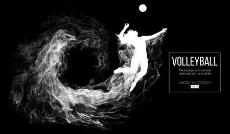 Streszczenie sylwetka kobiety siatkarz na ciemnym, czarnym tle z cząstek. Siatkarz skacze i kopie piłkę. Tło można zmienić na dowolne inne. Ilustracja wektorowa