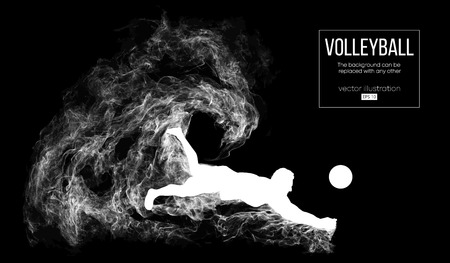 Abstract silhouette of a volleyball player man on dark, black background from particles. Volleyball player is jumping and kicks the ball. Background can be changed to any other. Vector illustration