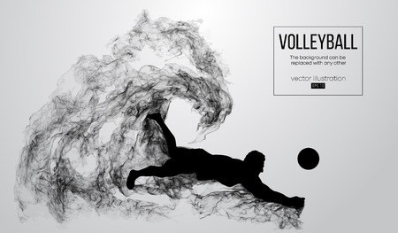 Abstract silhouette of a volleyball player man on white background from particles. Vector illustration Illustration