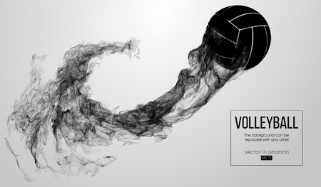 Abstract silhouette of a volleyball ball on white background from particles. Volleyball ball is flying. Background can be changed to any other. Vector illustration