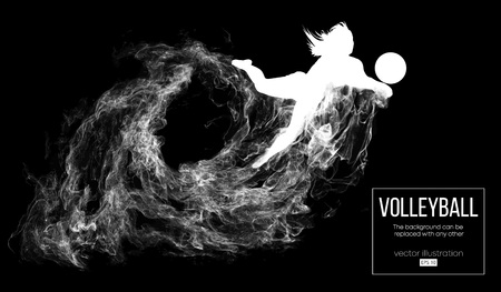 Abstract silhouette of a volleyball player woman on dark, black background from particles. Vector illustration Illustration