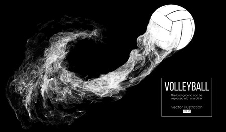 Abstract silhouette of a volleyball ball on dark, black background from particles. Volleyball ball is flying. Background can be changed to any other. Vector illustration