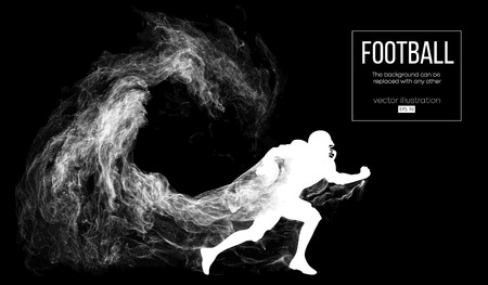 Abstract silhouette of a american football player on dark black background from particles, dust, smoke, steam. Football player running with ball. Rugby. Background can be changed to any other. Vector