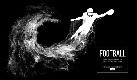 Abstract silhouette of a american football player on dark black background from particles, dust, smoke, steam. Football player jumping with ball. Rugby. Background can be changed to any other. Vector