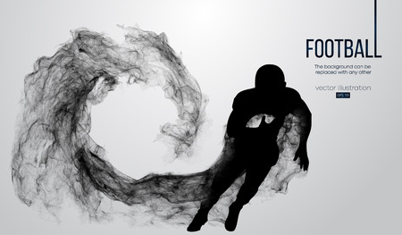 Abstract silhouette of a american football player on white background from particles, dust, smoke, steam. Football player running with ball. Rugby. Background can be changed to any other. Vector