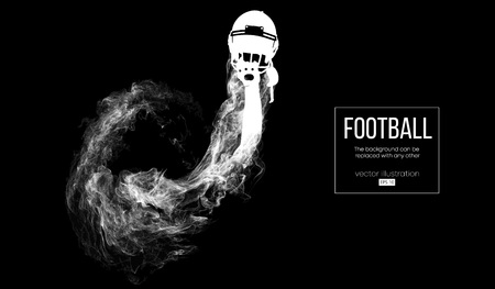 Abstract silhouette of a american football player on dark black background from particles, dust, smoke, steam. Football player holds helmet. Rugby. Background can be changed to any other. Vector