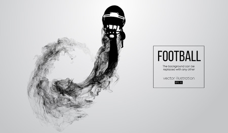 Abstract silhouette of a american football helmet on white background from particles, dust, smoke, steam. Football player holds helmet. Rugby. Background can be changed to any other. Vector