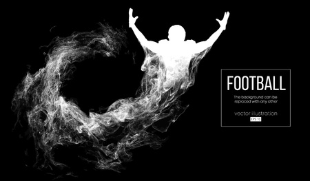 Abstract silhouette of a american football player on dark black background from particles, dust, smoke, steam. Football player is winner. Rugby. Background can be changed to any other. Vector