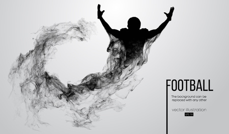 Abstract silhouette of a american football player on white background from particles, dust, smoke, steam. Football player is winner. Rugby. Background can be changed to any other. Vector