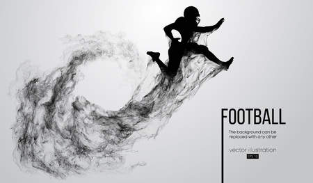 Abstract silhouette of a american football player on white background from particles, dust, smoke, steam. Football player jumping with ball. Rugby. Background can be changed to any other. Vector