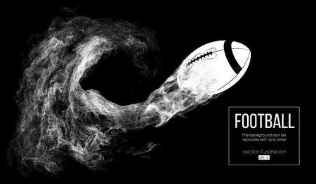 Abstract silhouette of a american football ball on dark black background from particles, dust, smoke, steam. Football ball flies. Rugby. Background can be changed to any other. Vector