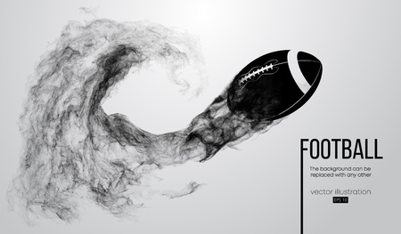 Abstract silhouette of a american football ball on white background from particles, dust, smoke, steam. Football ball flies. Rugby. Background can be changed to any other. Vector