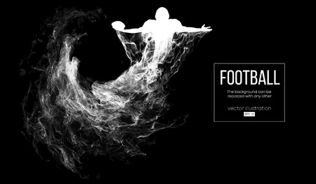 Abstract silhouette of a american football player on dark black background from particles, dust, smoke, steam. Football player holds ball, winner. Rugby. Background can be changed to any other. Vector