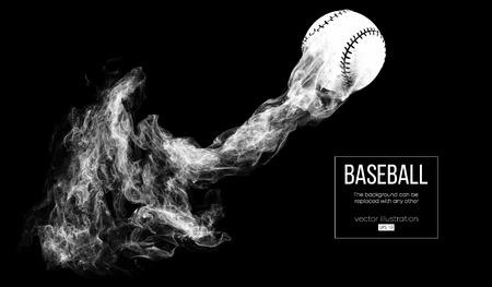 Silueta abstracta de una pelota de béisbol sobre fondo negro de dardos de partículas, polvo, humo. Vuela la pelota de béisbol. El fondo se puede cambiar a cualquier otro. Ilustración vectorial Ilustración de vector