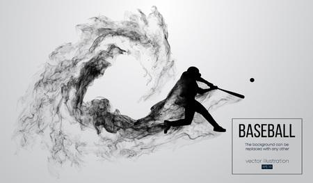 Abstract silhouet van een honkbalspelerbeslag op witte achtergrond van deeltjes, stof, rook. De slagman van de honkbalspeler raakt de bal. De achtergrond kan in een andere worden veranderd. vector illustratie