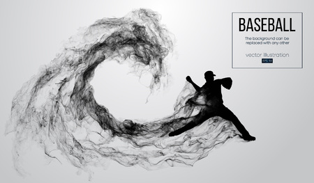 Abstract silhouette of a baseball player pitcher on white background from particles, smoke. Baseball player pitcher throws the ball . Background can be changed to any other. Vector illustration Ilustrace