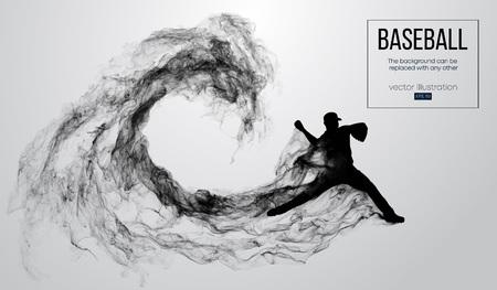 Silueta abstracta de un lanzador de jugador de béisbol sobre fondo blanco de partículas, humo. Lanzador de jugador de béisbol lanza la pelota. El fondo se puede cambiar a cualquier otro. Ilustración vectorial