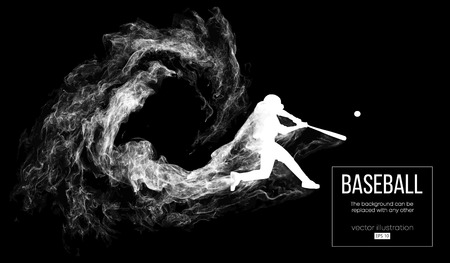 Abstract silhouette of a baseball player batter on dart black background from particles, dust, smoke. Baseball player batter hits the ball . Background can be changed to any other. Vector illustration