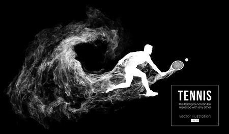 Abstract silhouette of a tennis player man male isolated on dark black background from particles dust, smoke. Tennis player hits the ball. Background can be changed to any other. Vector illustration Çizim
