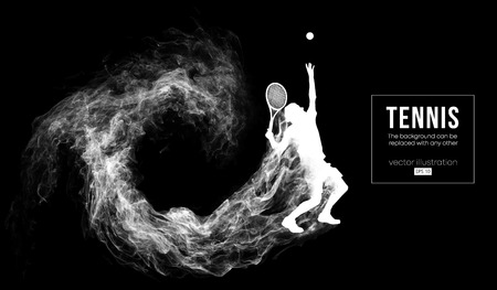 Abstract silhouette of a tennis player man male isolated on dark black background from particles dust, smoke. Tennis player hits the ball. Background can be changed to any other. Vector illustration Vettoriali