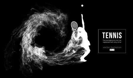 Abstract silhouette of a tennis player woman female girl isolated on dark black background from particles dust. Tennis player hits the ball. Background can be changed to any other. Vector illustration