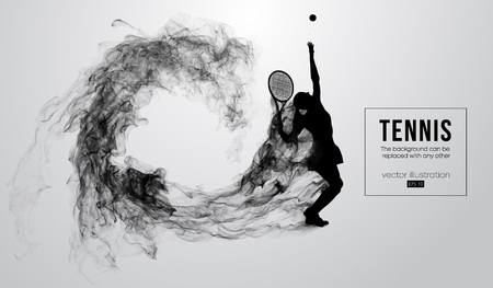 Abstract silhouette of a tennis player woman female isolated on white background from particles dust, smoke. Tennis player hits the ball. Background can be changed to any other. Vector illustration Vettoriali