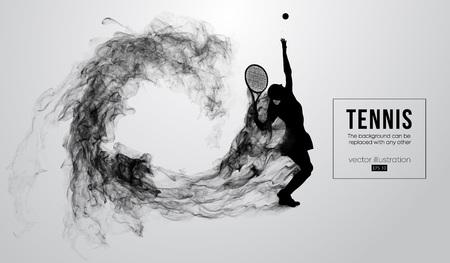 Siluetta astratta di una femmina di donna giocatore di tennis isolata su priorità bassa bianca da particelle di polvere, fumo. Il tennista colpisce la palla. Lo sfondo può essere cambiato in qualsiasi altro. Illustrazione vettoriale