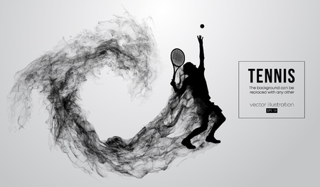 Abstract silhouette of a tennis player man male isolated on white background from particles dust, smoke, steam. Tennis player hits the ball. Background can be changed to any other. Vector illustration Banque d'images - 116504343