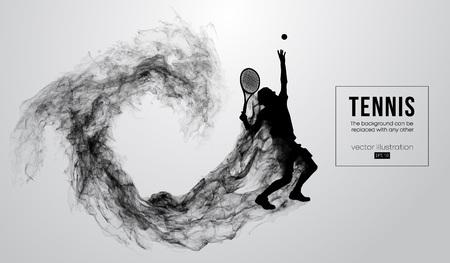 Streszczenie sylwetka tenisista mężczyzna mężczyzna na białym tle na białym tle z cząstek pyłu, dymu, pary. Tenisista uderza piłkę. Tło można zmienić na dowolne inne. Ilustracja wektorowa Ilustracje wektorowe