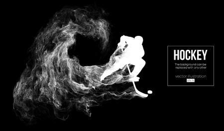 Silhouette abstraite d'un joueur de hockey sur fléchettes, fond noir de particules, poussière, fumée, vapeur. Le joueur de hockey frappe la rondelle. L'arrière-plan peut être changé en n'importe quel autre. Illustration vectorielle Vecteurs