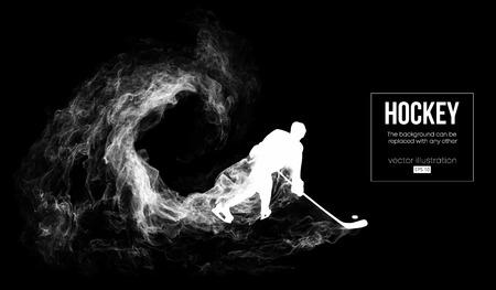 Abstrakte Silhouette eines Hockeyspielers auf Dart, schwarzer Hintergrund aus Partikeln, Staub, Rauch, Dampf. Hockeyspieler schlägt den Puck. Hintergrund kann zu jedem anderen geändert werden. Vektor-Illustration Vektorgrafik