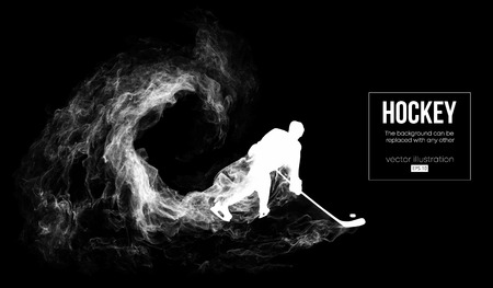 Siluetta astratta di un giocatore di hockey su dardo, sfondo nero da particelle, polvere, fumo, vapore. Il giocatore di hockey colpisce il disco. Lo sfondo può essere cambiato in qualsiasi altro. Illustrazione vettoriale Vettoriali