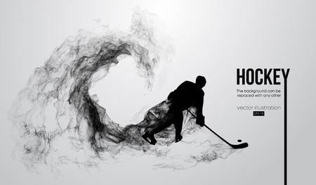 Abstract silhouette of a hockey player on white background from particles, dust, smoke, steam. Hockey player hits the puck. Background can be changed to any other. Vector illustration