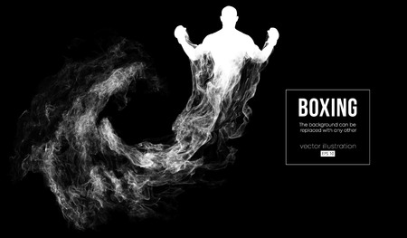 Abstract silhouette of a boxer, mma, ufc fighter on the dark, black background from particles, dust, smoke, steam. Boxer is winner. Background can be changed to any other. Vector illustration